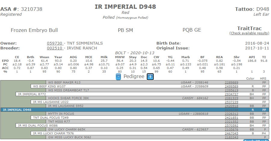 IR Imperial D948 - Simmental AI Sires (No Ownership)