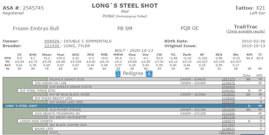 Long's Steel Shot - Simmental AI Sires (No Ownership)