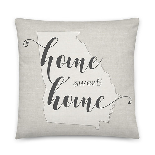 Pillow - Home Sweet Home Georgia burlap-look