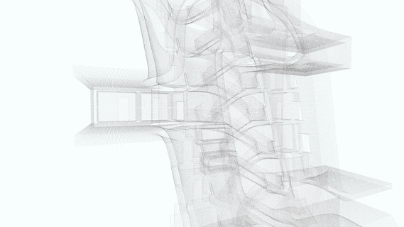 A point cloud is used as a means of representation, rather than a surveying tool in order to illustrate the intricate relationships within layers. Narrow passageways and openings are exposed and understood as part of a continuous whole. This new tool is useful in illustrating complex spaces resultant from non-Cartesian design methods, as well as inside-outside relationships.