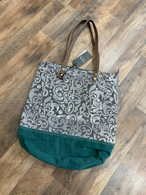 Abstract Print Green Tote