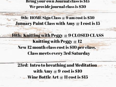 January Class Schedule