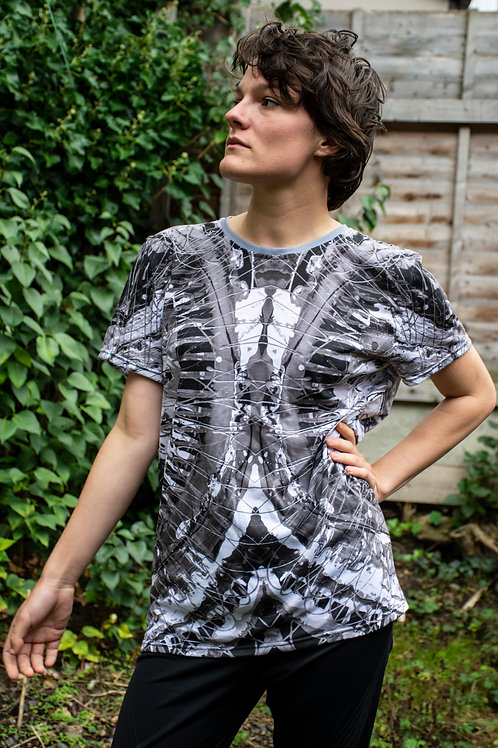 All Over Sublimation Print T-Shirt - Black and White