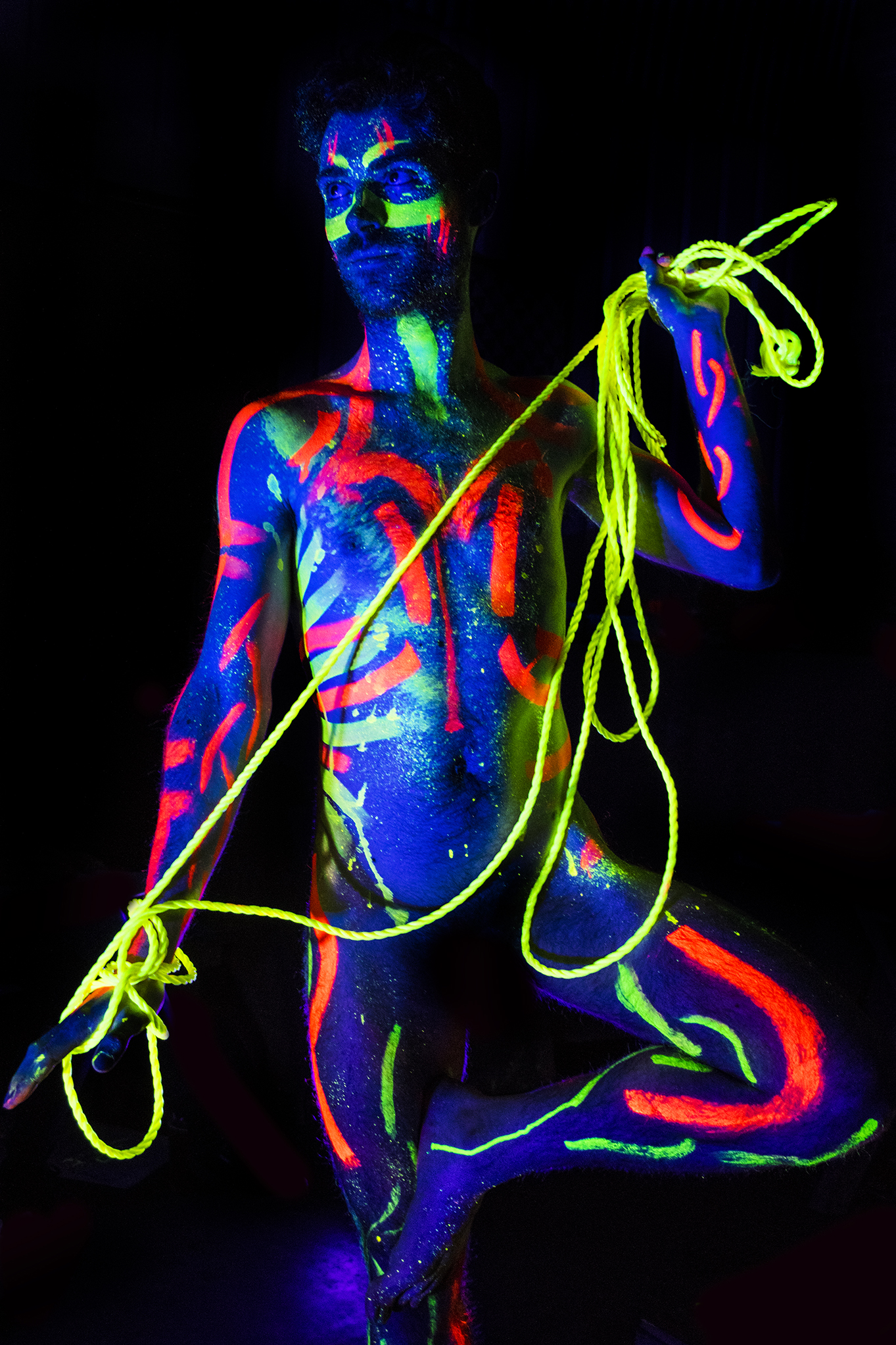 Andrew modelling for Neon Naked.