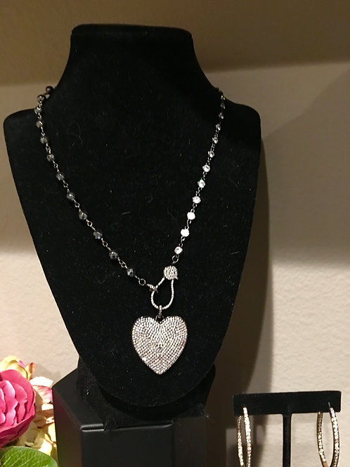 Beaded Chain and Heart Pendant