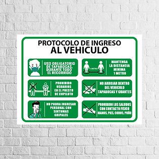 Señalización Protocolos de Seguridad - Covid 19 - Protocolo de ingreso vehiculos