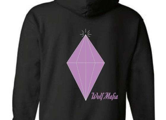 Wolf Mafia (Black) Hoodie Purple Diamond /Wolf Mafia Sleeve