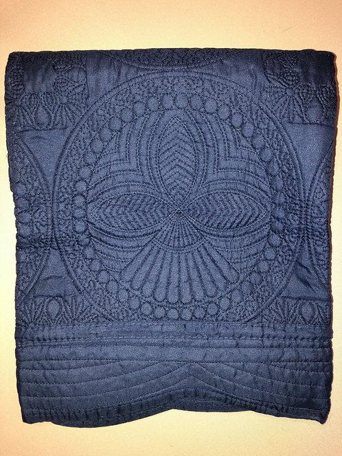 monogrammed navy quilt