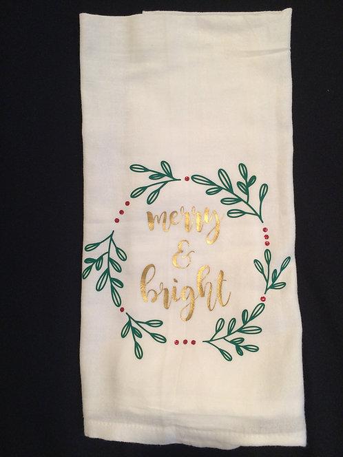 merry & bright flour sack cloth
