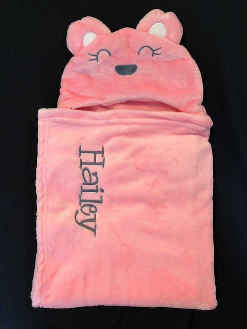 pink hooded blanket