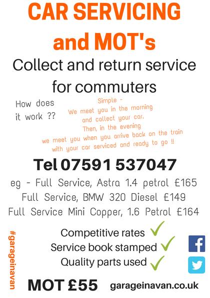 Mobile mechanic Tonbridge garageinavan collect and return service for railway commuters