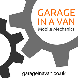 garage in a van mobile mechanic logo
