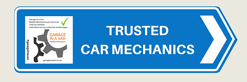 Motorway sign image saying Trusted car mechanics - kent and sussex mobile diagnostics garage in a van