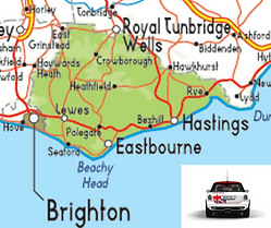 map of east sussex, the mini mechanic is now in east sussex