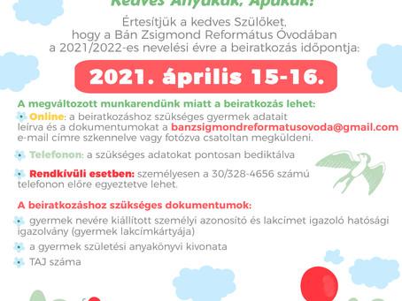 Óvodai beiratkozás 2021