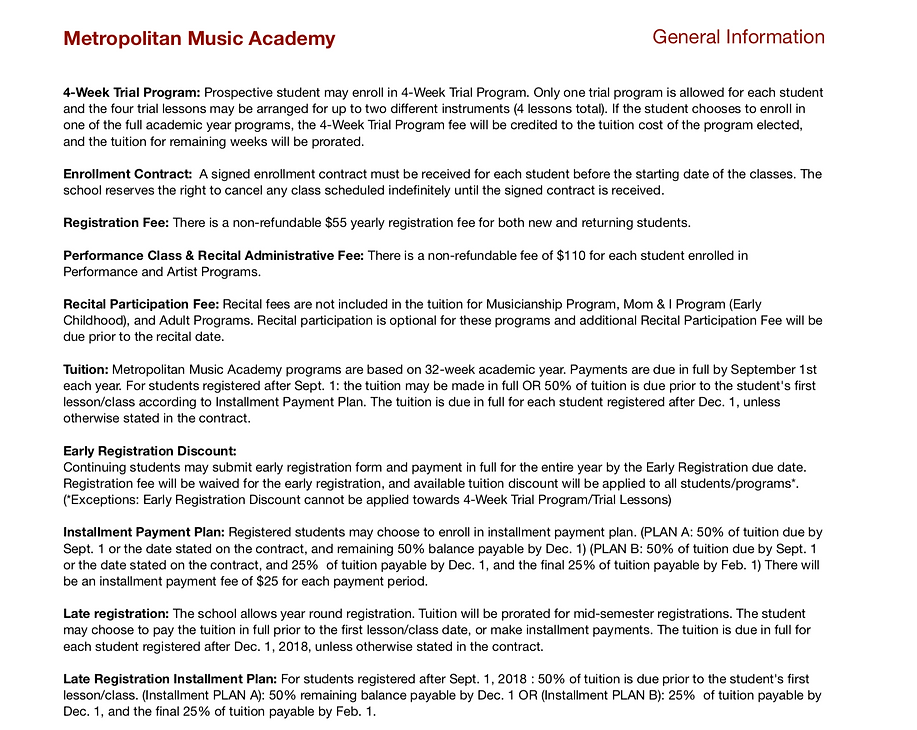 Metropolitan Music Academy Information and Policy