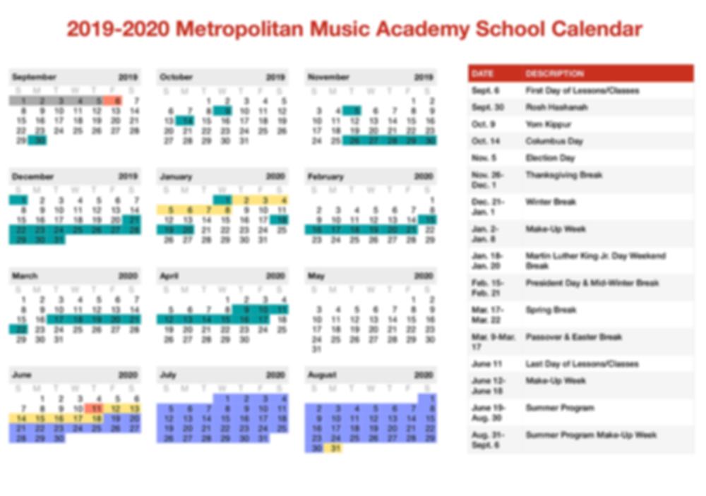 2019-2020 Metropolitan Music Academy School Calendar