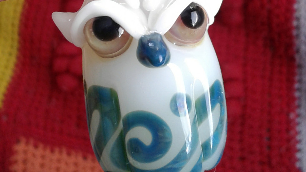 White and Blue Owl Pendant