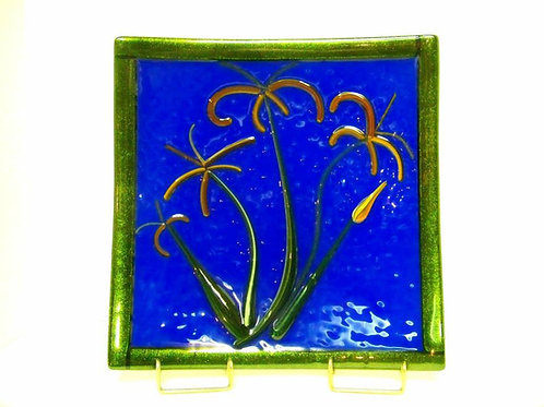 Fused Glass Dish- Fire Lilies
