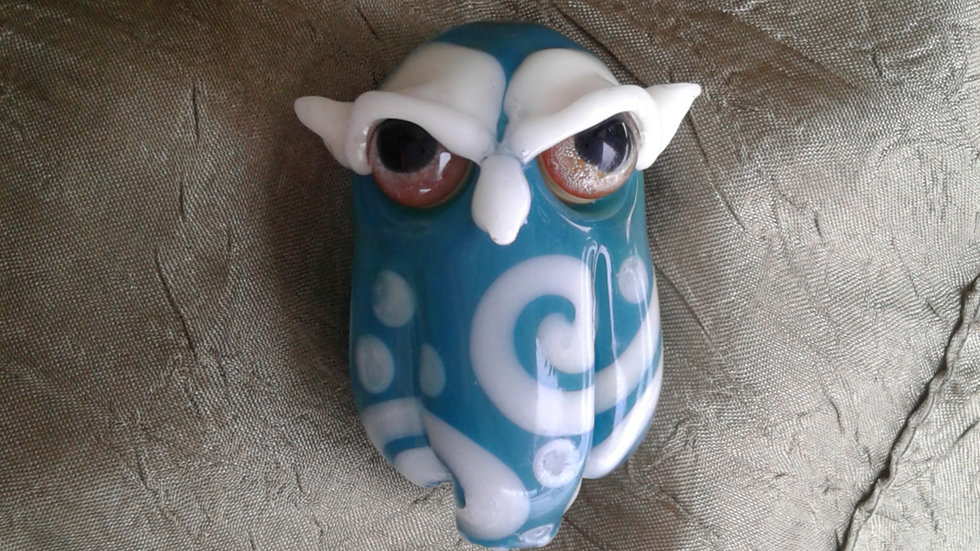 Teal and White Owl Pendant