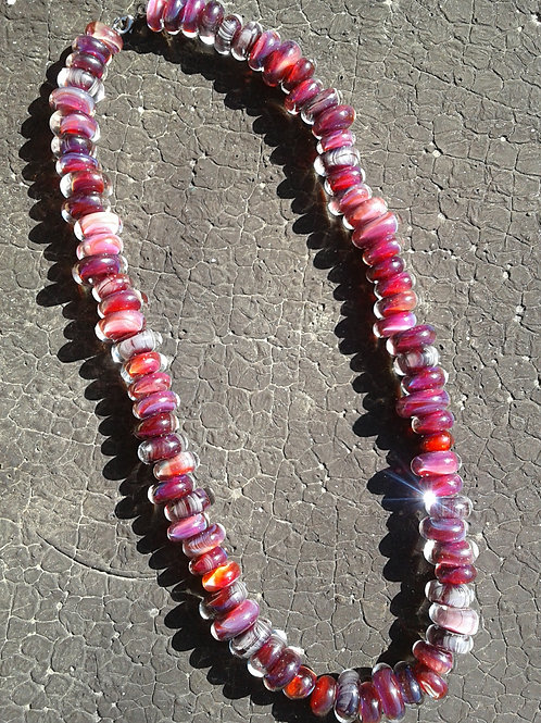 Glass Bead Necklace- Scarlet Pink