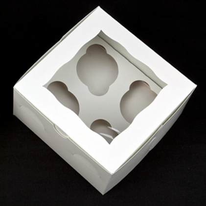7x7x4 4-Pack Cupcake Boxes + Inserts (10 Count)