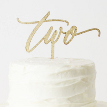 Gold 'Two' Cake Topper