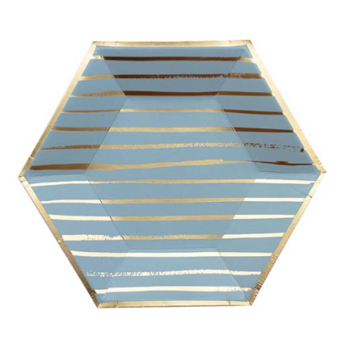 Small Blue Striped Plates (Set of 8)