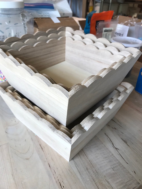 Fluted Wooden Organizers (Set of 3)
