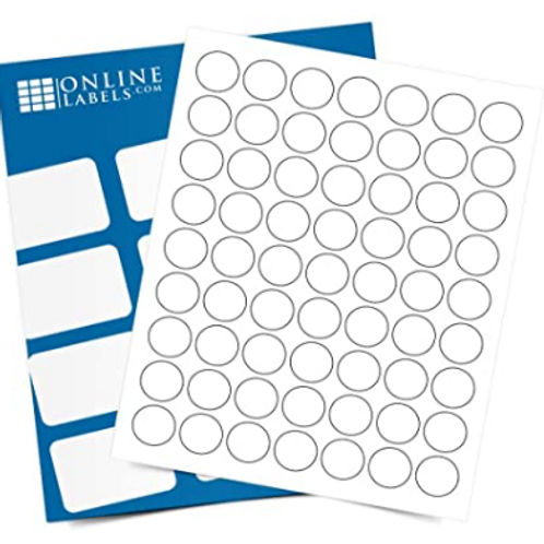 1-inch Round Labels - White Matte - 25 Sheets