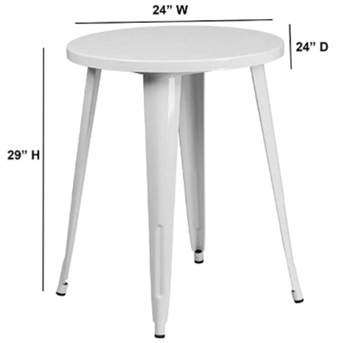 """24"""" Round White Metal Indoor-Outdoor Table"""