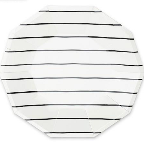 Small Black Striped Plates
