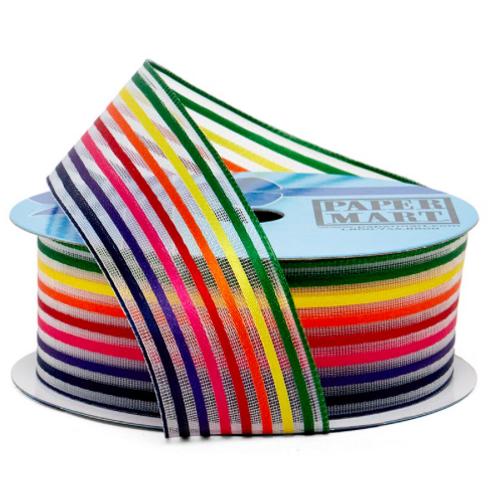 "Rainbow Wired Ribbon 1.5"" (25 yards)"
