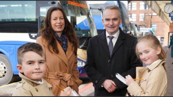 Crawfordsburn PS takes part in the launch of Translink and Belfast Telegraph journalism competition