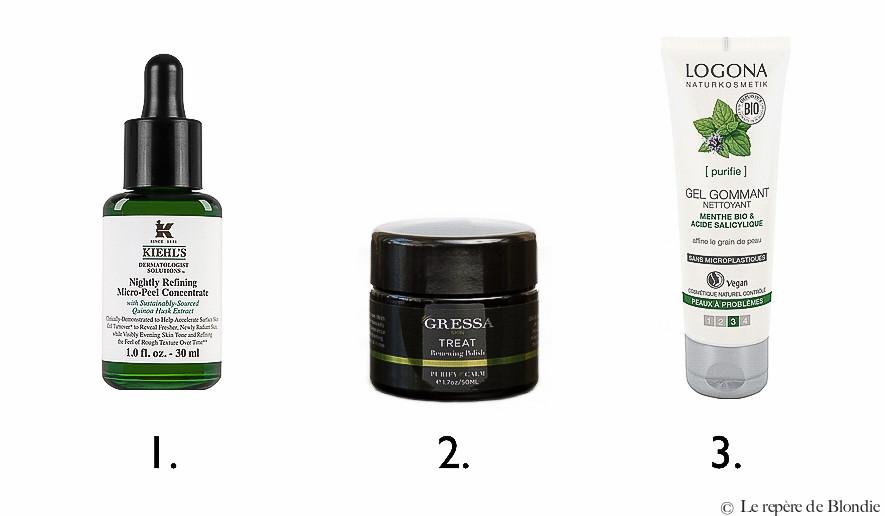 gommage/peeling peau acné