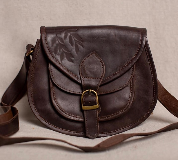 Willow Branches Leather Saddle Bag