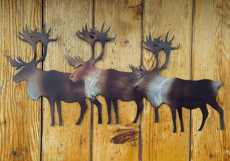 3 Caribou Metal Art