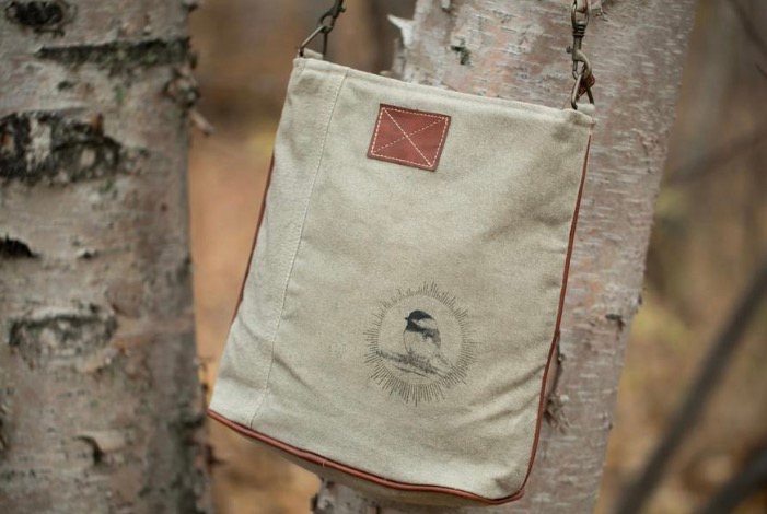 Chickadee Sunshine Canvas Sling Bag
