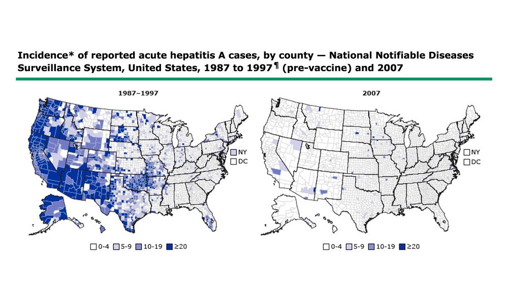 map decline of hepatitis A