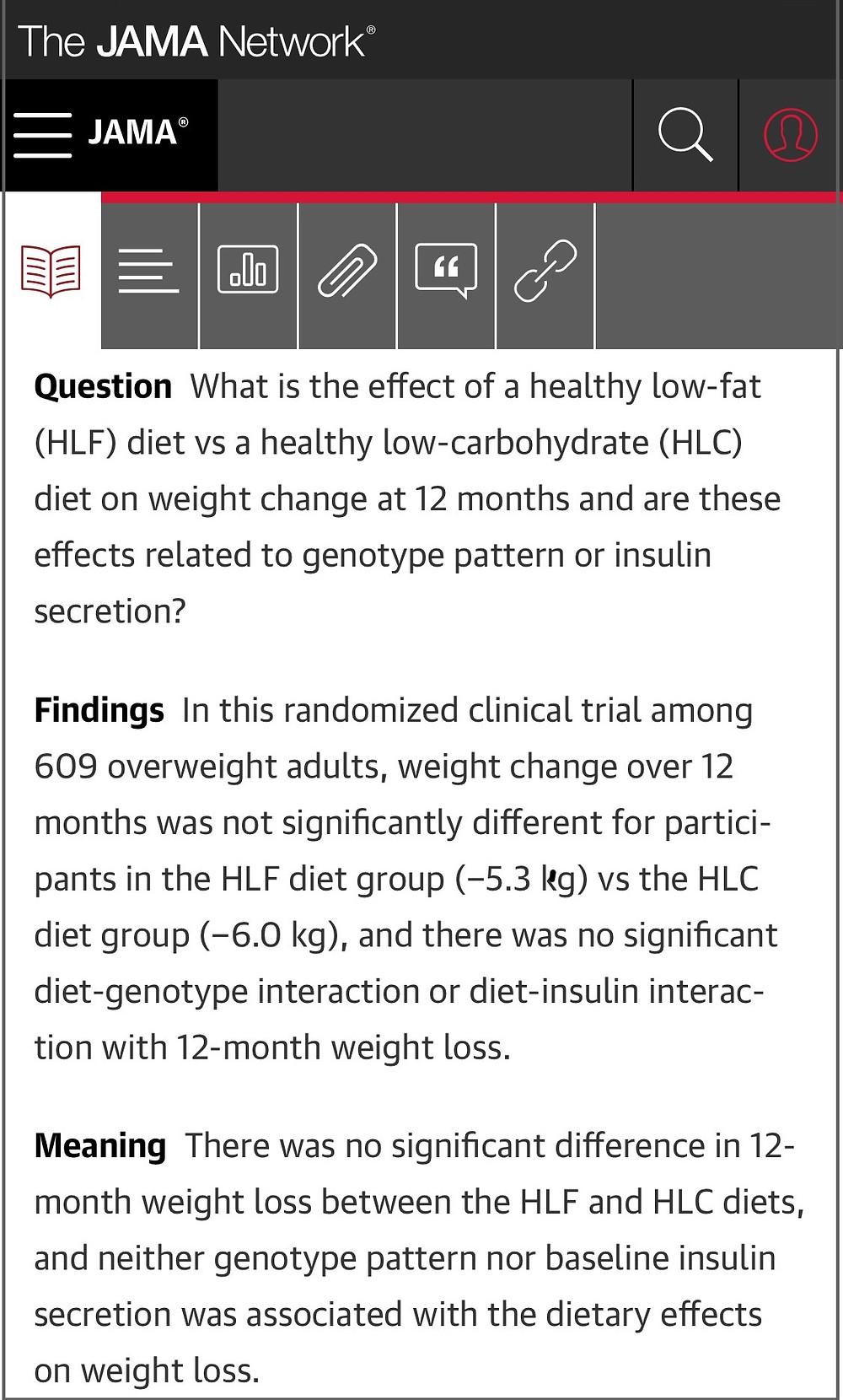 JAMA study, low fat vs low carb, key points
