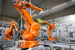 Industrial automatic robot arms in the p
