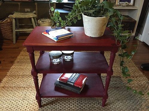 Red Velvet Accent Table