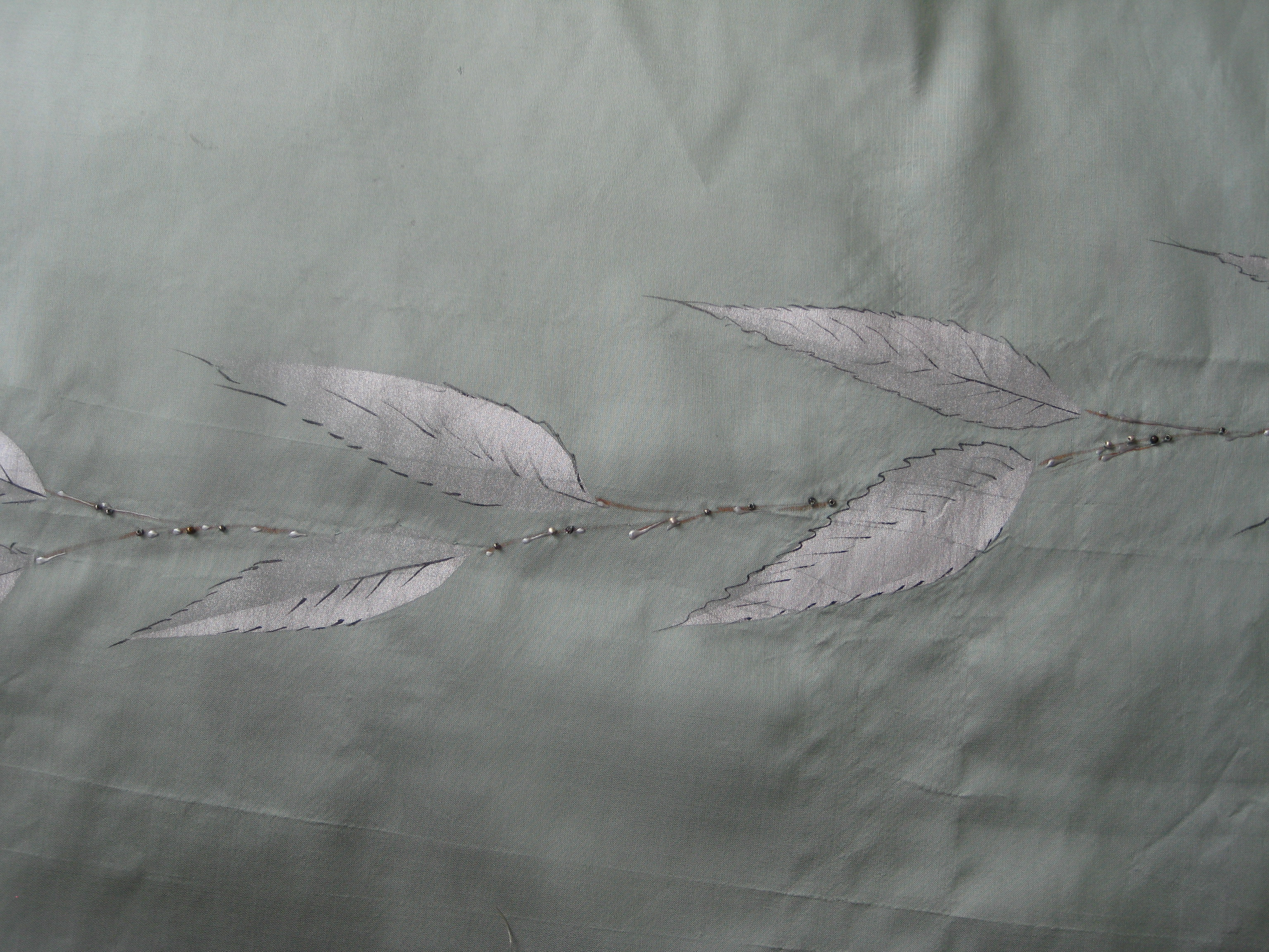 silver leaves on fabric