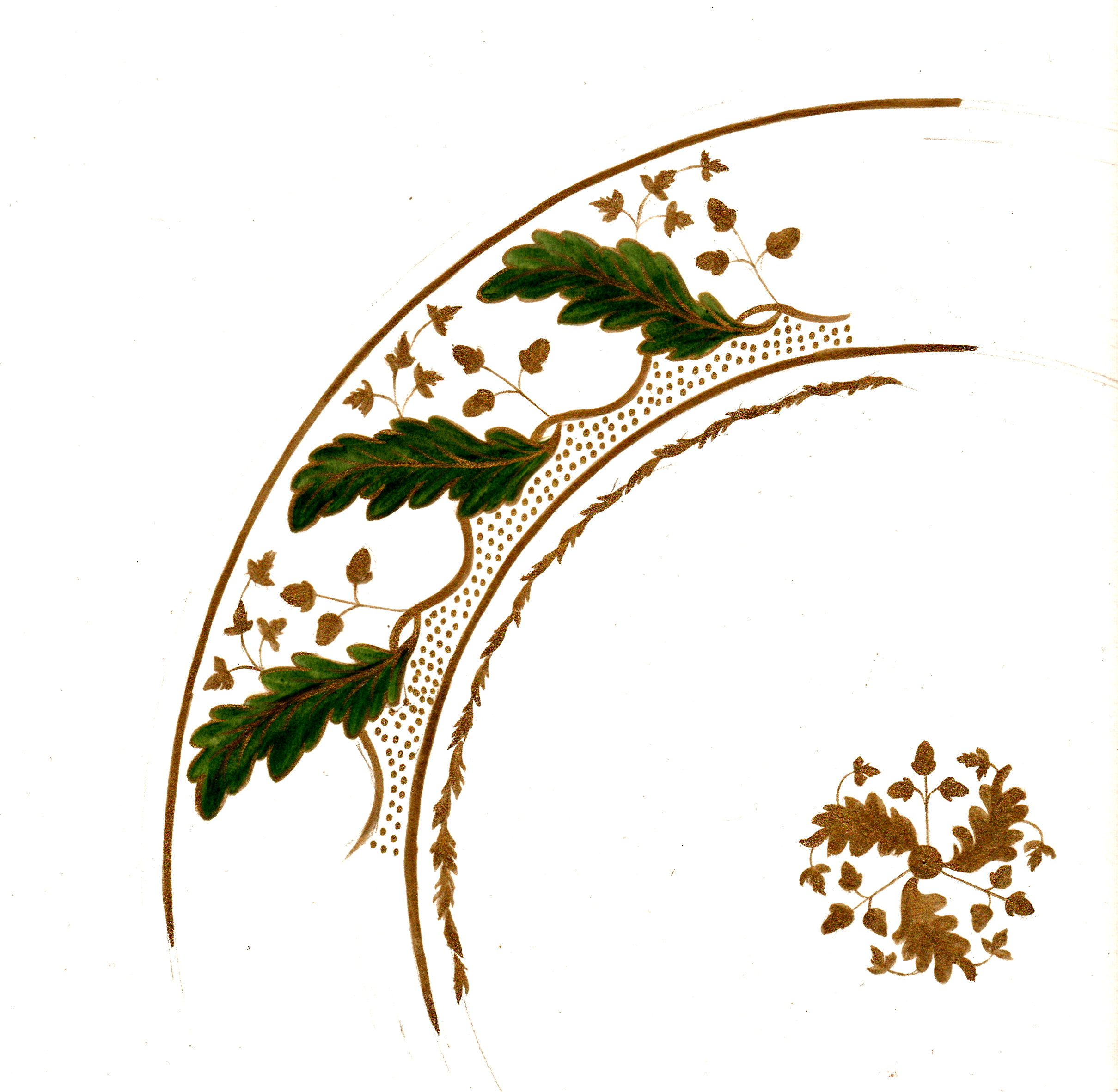 acanthus leaf green-gold plate