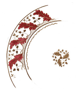 acanthus leaf puce-gold plate