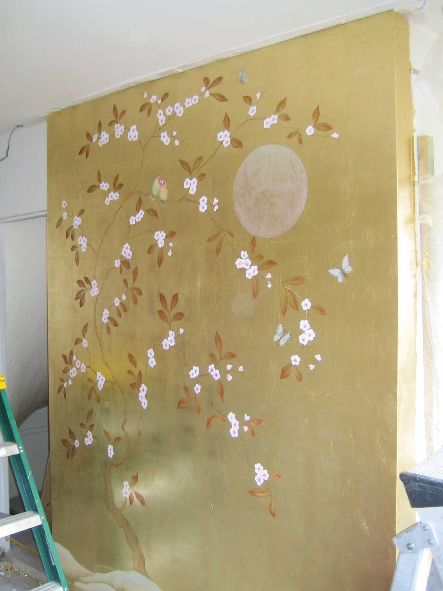 Decorative gold mural statement wall