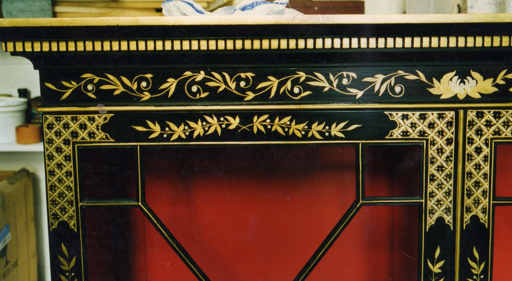cabinet, gold detail