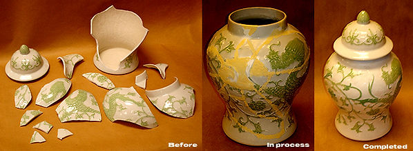 The stages of restoration when taking a course in Restoration of Porcelain and Ceramics at The Little Studio, NYC