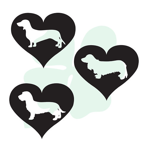 Dachshund Heart Vinyl Stickers