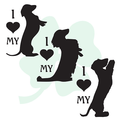 I Love My Sitting Pretty Dachshund Vinyl Stickers